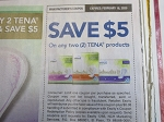 15 Coupons $5/2 Tena Products 2/16/2020