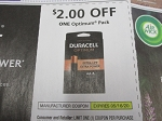 15 Coupons $2/1 Duracell Optimum pack 5/16/2020