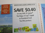 15 Coupons $.40/1 Lipton Tea Bags, K Cup, Liquid or Powdered Iced Tea Mix 5/31/2020