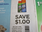 15 Coupons $1/1 Sport Shot Instant Carpet Stain Remover 10/18/2020