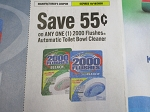 15 Coupons $.55/1 2000 Flushes Automatic Toilet Bowl Cleaner 10/18/2020