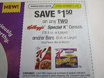 15 Coupons $1.50/2 Kellogg's Special K Cereal or Bars 9/13/2020