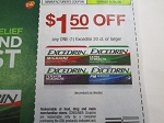 15 Coupons $1.50/1 Excedrin 20ct 10/4/2020