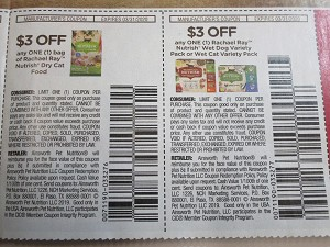 15 Coupons $3/1 Rachel Ray Nutrish Dry Cat Food + $3/1 Nutrish Wet Dog or Cat Variety Pack 3/31/2020