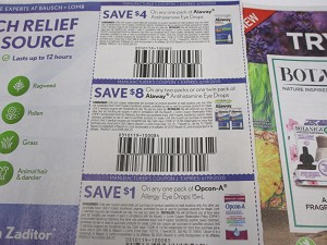 15 Coupons $4/1 Alaway Antihistamine Eye Drops + $8/2 packs or 1 Twin Alaway + $1/1 Opcon A Allergy Eye Drops 6/19/2020