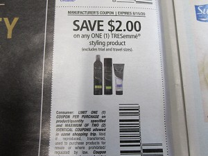 15 Coupons $2/1 Tresemme Styling 8/15/2020