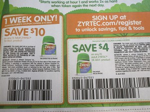 15 Coupons $10/1 Adult Zyrtec 70-90ct8/15/2020 + $4/1 Zyrtec 24-60ct 9/5/2020
