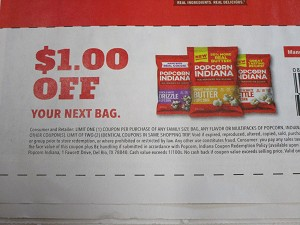 15 Coupons $1/1 Popcorn Indiana 10/17/2020