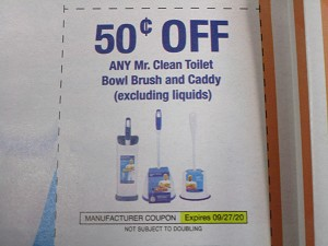 15 Coupons $.50/1 Mr Clean Toilet Bowl Brush and Caddy 9/27/2020