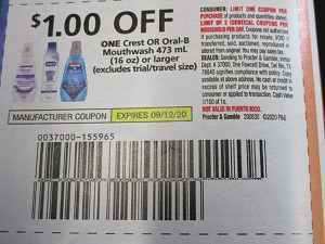 15 Coupons $1/1 Crest or Oral B Mouthwash 473ml 9/12/2020