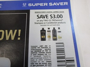 15 Coupons $3/2 Tresemme Shampoo or Conditioner 10/3/2020