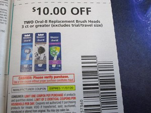 15 Coupons $10/2 Oral B Replacement Brush Heads 3ct 11/7/2020