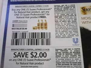 15 Coupons Buy 1 Get 1 FREE Suave Professionals for Natural Hair + $2/1 Suave Professionals for Natural Hair 11/14/2020