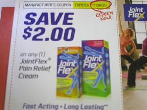 15 coupons $2/1 JointFlex Pain Relief Cream 11/30/2020