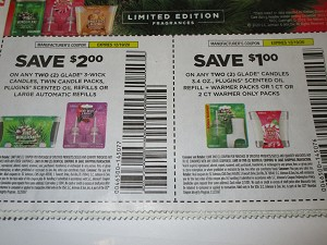 15 Coupons $2/2 Glade 3 Wick Candles Twin Candle Packs Plugins Scented Oil Refills or Large Automatic Refills  + $1/2 Glade Candles 3.4oz 12/19/2020