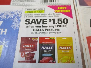 15 Coupons $1.50/2 Halls 1/23/2021