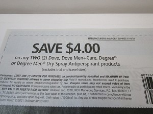 15 Coupons $4/2 Dove, Dove Men+Care, Degree or Degree Men Dry Spray Antiperspirant 1/16/2021