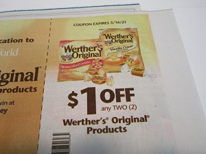 15 Coupons $1/2 Werther's Original 5/16/2021